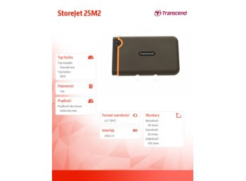 "Transcend StoreJet 25 M2 1TB 2.5"" USB2.0 Black - Rubber Case, Anti-Shock"