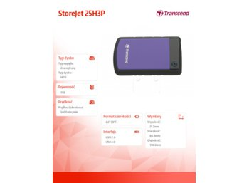 "Transcend StoreJet 25 H3P 1TB 2.5"" USB3.0 Violet - Rubber Case, Anti-Shock"