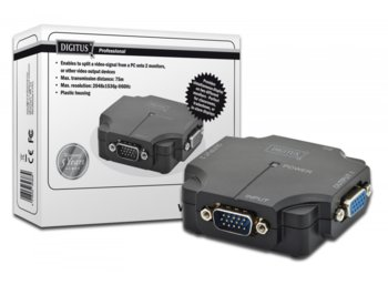 Digitus Mini Splitter wideo VGA 1xPC 2xMonitor, 350MHz