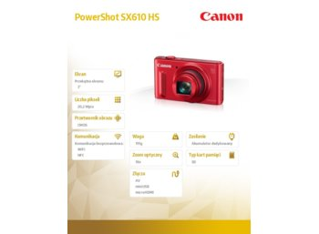 Canon PowerShot SX610 RED HS WIFI NFC 0113C002AA