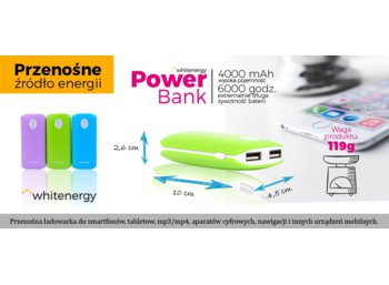 Whitenergy POWERBANK 4000mAh 2xUSB 2.1A 1A lawendowy, kabel