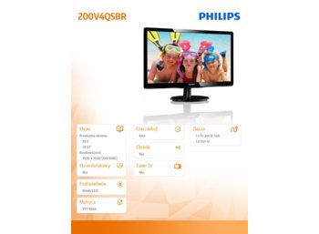 Philips 19.53'' 200V4QSBR LED MVA DVI Czarny