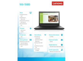 "Lenovo 100-15IBD 80QQ006EPB W10 HOME i5-5200U/4GB/500GB/INTEGRATED/15.6"" BLACK TEXTURE"