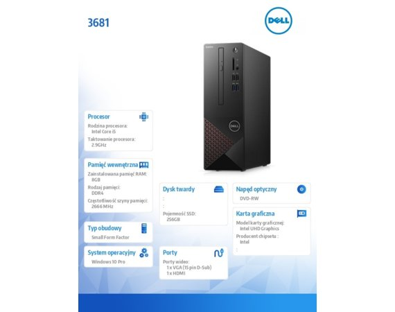 Dell Desktop Vostro 3681 i5-10400/8GB/256GB SSD/UHD 630/DVD RW/WLAN + BT/Kb/Mouse/Win10Pro  3Y BWOS