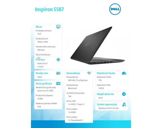"Dell Inspiron 5587 Win10Home i7-8750H/512GB/1TB/16GB/GTX1060/15.6""UHD/KB-Backlit/56WHR/Black/1Y PS + 1Y CAR"