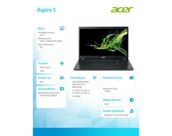 Acer Notebook A315-56-594WDX  WIN10H/i5-1035G1/8GB/512SSD/UHD/15.6 cala FHD