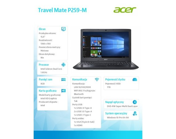 Acer Travel Mate P259-M-C74Z W10P/3855U/8/1T/15.6''