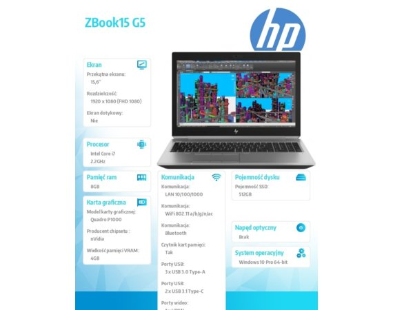 HP Inc. Laptop ZBook15 G5 i7-8750HQ 512/8G/W10P/15,6 4QH14EA