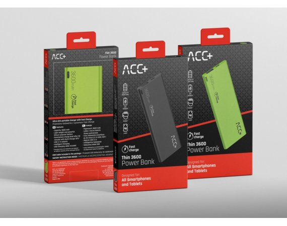 ACC+ Power Bank ACC+ THIN 3600 mAh czarny