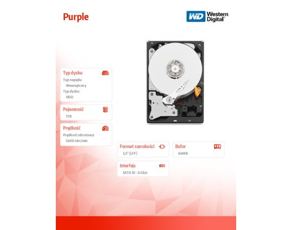 Western Digital Purple WD10PURX 1TB 64MB  SATAIII 5400rpm