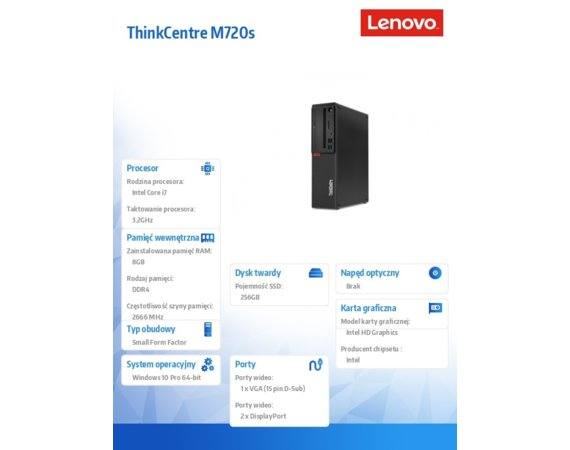 Lenovo Desktop ThinkCentre M720s SFF 10ST0032PB W10Pro i7-8700/8GB/256GB/INT/3YRS OS