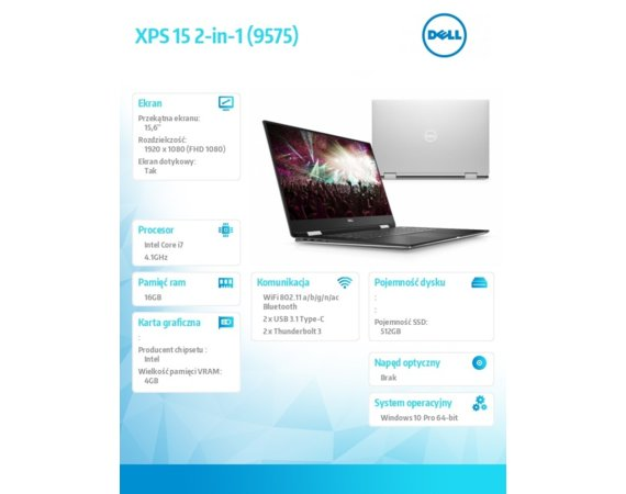 Dell Laptop XPS 9575 Windows 10Pro i7-8705G/512GB/16GB/AMD RX Vega/15.6 FHD/Touch/KB-Backlit/75 WHR/Srebrny/3Y NBD