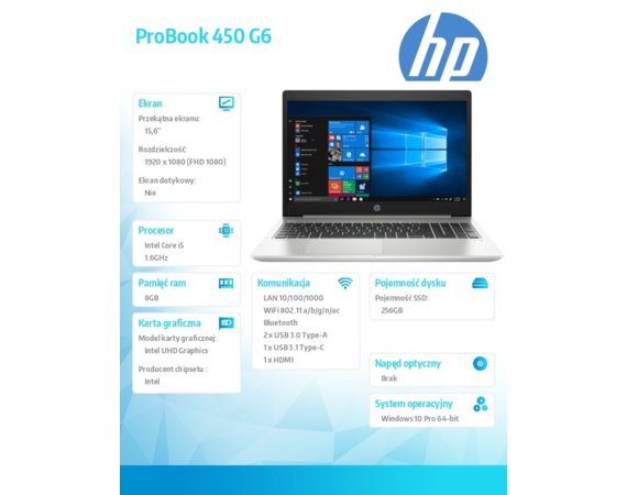 HP Inc. Notebook ProBook 450 G6 i5-8265U W10P 256/8G/15,6      5PP67EA