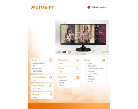 LG Electronics 29'' 29UT55V-PZ IPS 21:9 TV HDMIx2/DP/USB