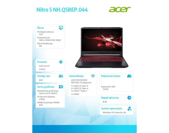 Acer Notebook NH.Q5BEP.044 WIN10H i7-9750H/8GB/512GB/GTX1660Ti 6GB/15.6''FHD