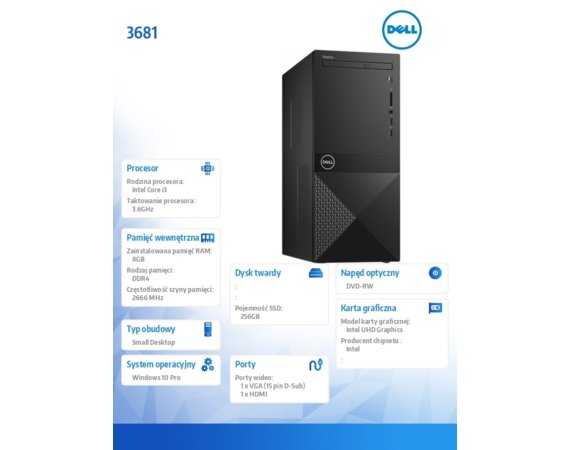 Dell Desktop Vostro 3681 i3-10100/8GB/256GB SSD/UHD 630/DVD RW/WLAN + BT/Kb/Mouse/Win10Pro  3Y BWOS
