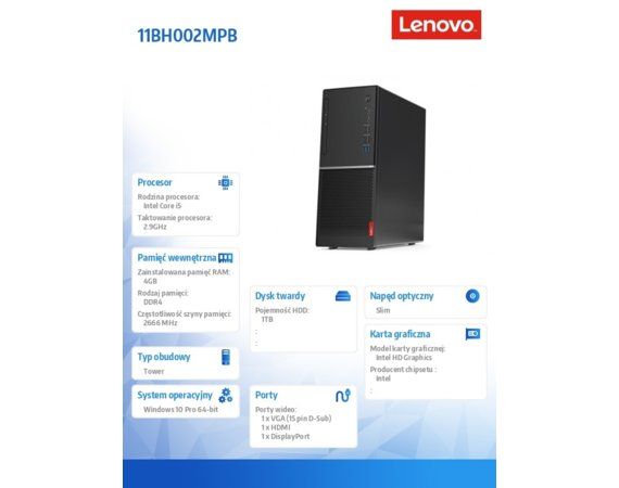 Lenovo Komputer V530 Tower 11BH002MPB W10Pro i5-9400/4GB/1TB/INT/DVD/3YRS OS