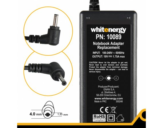 Whitenergy Zasilacz do laptopa ASUS 19V 1.75A wtyk: 4x1.35mm
