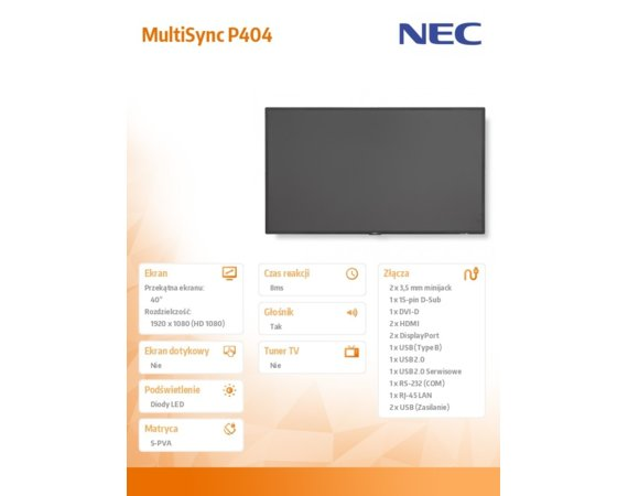 NEC Monitor 40 MultiSync P404 LED 700cd/m2 24/7 OPS slot