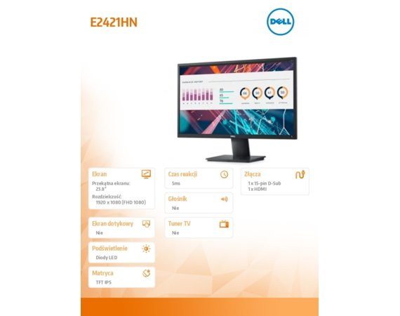 Dell Monitor  E2421HN 23.8 LED IPS 1920x1080 VGA/HDMI/3Y