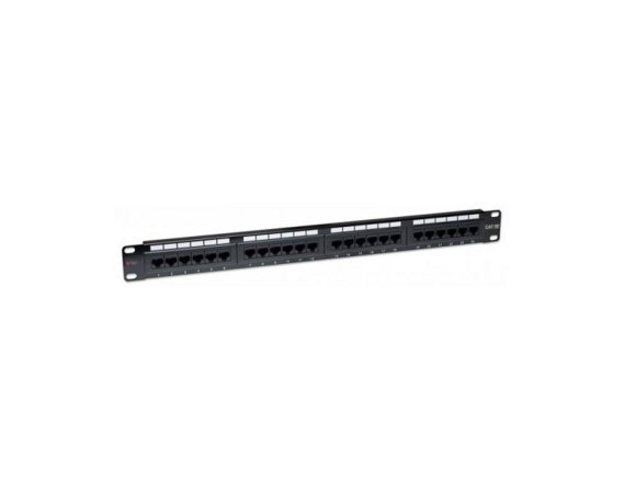 Techly Patch panel 1U UTP 24xR J45 Cat.5e, czarny