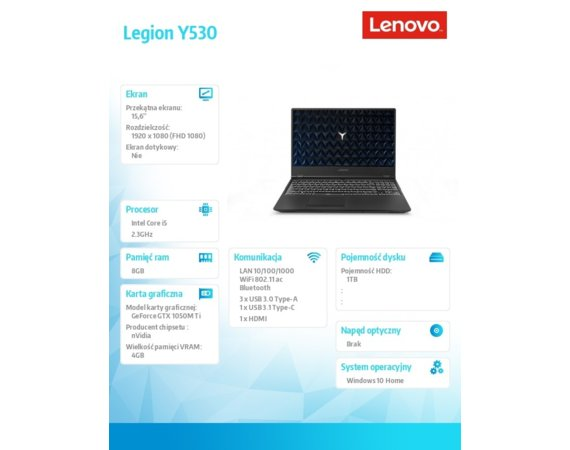 Lenovo Notebook Legion Y530-15ICH 81FV01ARPB W10Home i5-8300H/8GB/1TB/GTX1050Ti 4GB/15.6 Black/2YRS CI
