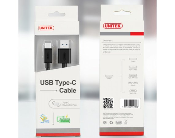 Unitek Kabel USB TYP-C DO USB 3.0; 1m; Y-C474BK