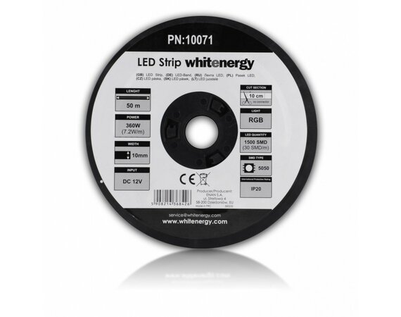 Whitenergy Taśma LED 50m SMD5050 7.2W/m 10mm RGB