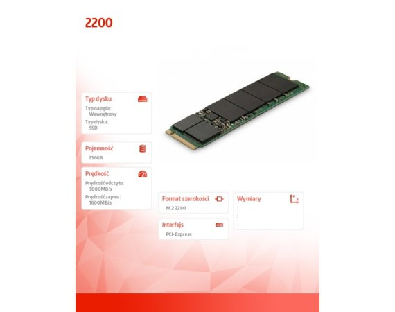 Micron Dysk SSD 2200 256GB M.2 NVMe Non SED
