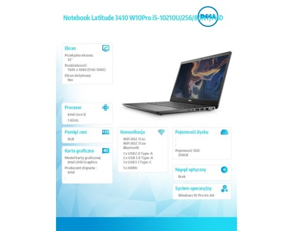 "Dell Notebook Latitude 3410 Win10Pro i5-10210U/256GB/8GB/Intel UHD/14.0""FHD/KB-Backlit/3 cell/3Y BWOS"