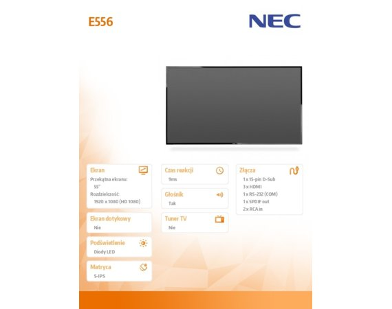 "NEC 55"" MultiSync E556 S-IPS 1920x1080 350cd/m2"