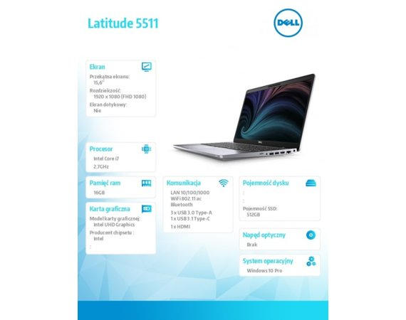 Dell Notebook Latitude 5511 i7-10850H/16GB/SSD512GB/15.6 FHD/UHD/FPR/SCR/Backlit Kb/4 Cell/W10Pro/3Y BWOS