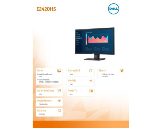 Dell Monitor E2420HS 23.8'' IPS LED FullHD (1920x1080) /16:9/VGA/HDMI/Speakers/5Y PPG