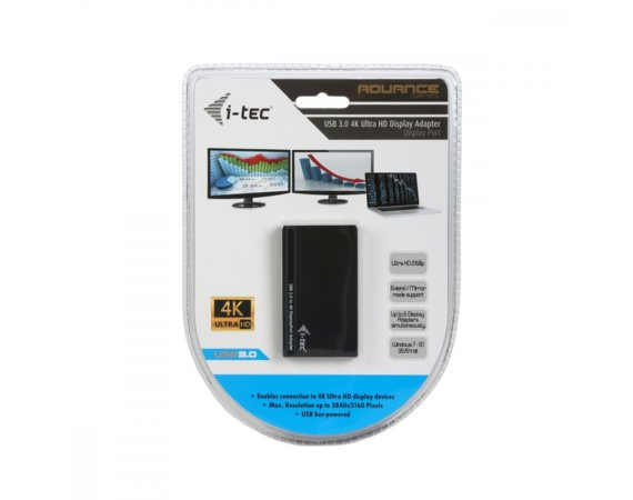 i-tec USB 3.0 4K Ultra HD Display Adapter - 1x Display Port 4K  Ultra HD 3840x2160 px, zewnetrzna karta graficzna