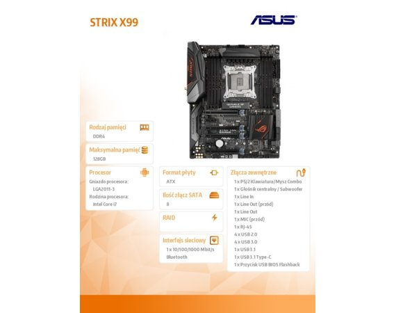 Asus STRIX X99 GAMING s2011-v3 8DDR4 USB3/ATX