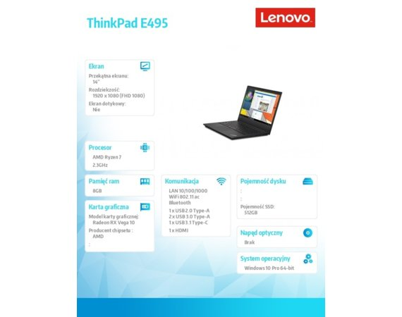 Lenovo Laptop ThinkPad E495 20NE000EPB W10Pro 3700U/8GB/512GB/INT/14.0FHD/1YR CI