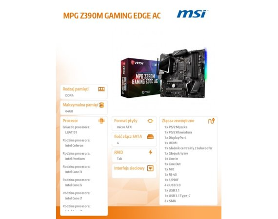 MSI Płyta główna MPG Z390M GAMING EDGE AC s1151 4DDR4 HDMI/DP/USB3 uATX