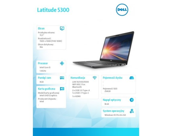 "Dell Notebook Latitude 5300 Win10Pro i5-8365U/256GB/8GB/Intel UHD620/13.3""FHD/KB-Backlit/4-cell/3Y NBD"