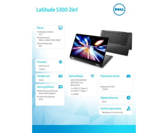 "Dell Notebook Latitude 5300 2in1 Win10Pro i7-8665U/512GB/16GB/Intel UHD620/13.3""FHD/KB-Backlit/4-cell/3Y NBD"