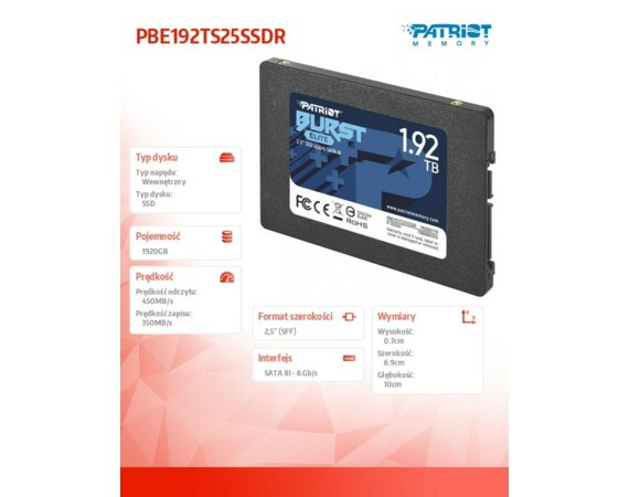 Patriot SSD 1920GB Burst Elite 450/320MB/s SATA III 2.5