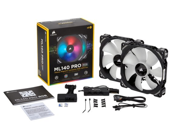 Corsair Fan ML140 RGB LED PWM 2 Fun Pack Premium Magnetic Levitation Fan ; Lighting Node PRO