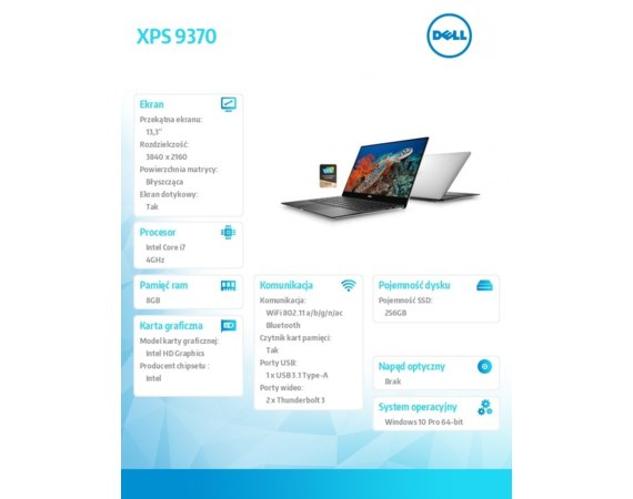 "Dell XPS 13 9370 Win10P i7-8550U/256GB/8GB/Intel HD/13.3""UHD/KB-Backlit/Silver/52WHR/2Y NBD"