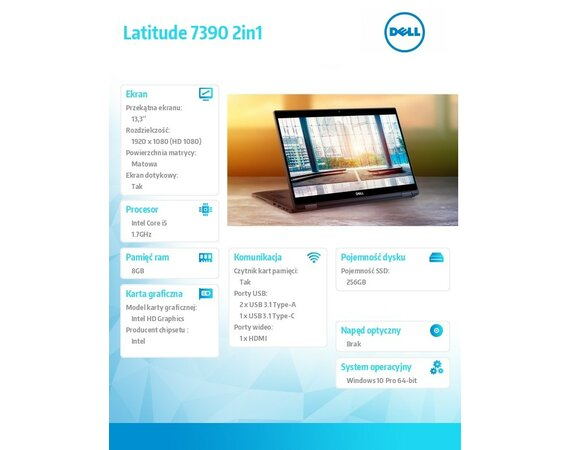 "Dell Latitude 7390 W10Pro i5-8350U/256GB/8GB/Intel UHD 620/13.3""FHD/Touch/KB-Backlit/4-cell/3Y NBD"