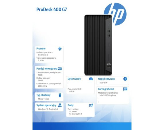 HP Inc. Desktop 400MT G7 i5-10500 512/16/DVD/W10P  293T5EA