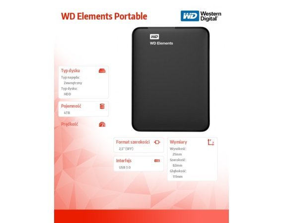 "Western Digital HDD Portable 4TB Elements 2,5"" USB3.0"