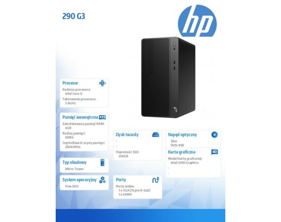 HP Inc. Desktop 290MT G3 i3-10100 256/4G/DVD/DOS 123Q2EA