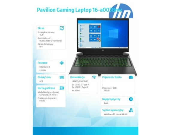 HP Inc. Notebook Pavilion Gaming 16-a0038nw W10H/16,1 i5-10300H/512/8G/GTX1650Ti  365D3EA