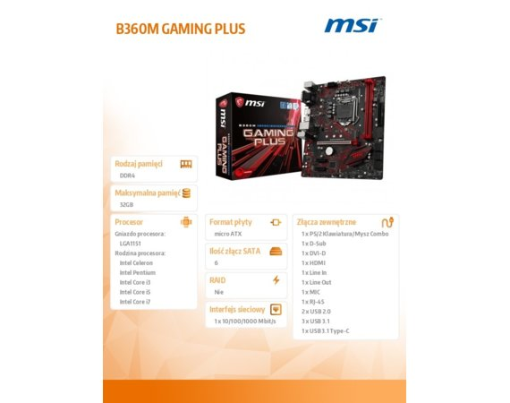 MSI B360M GAMING PLUS s1151 B360 2DDR4 M.2 USB3 uATX