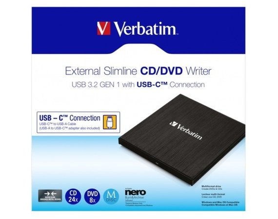 Verbatim Nagrywarka CD/DVD RW USB-C 3.2 slim