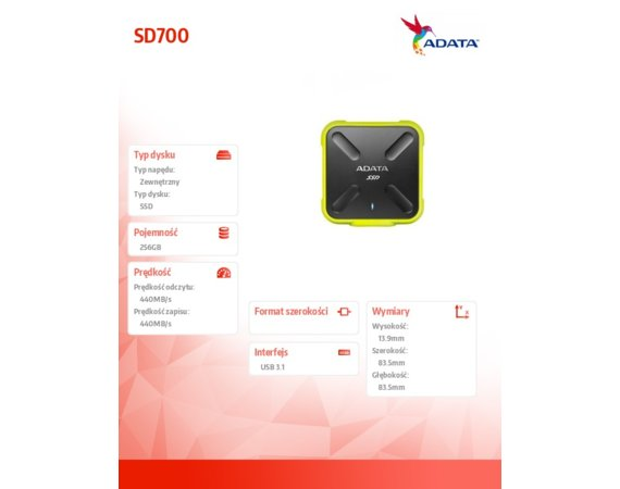 Adata SSD External SD700 256G USB3.1 Durable Zółty